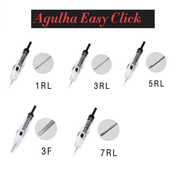 100 Uds 1 para Agulha Easy Click Cartridge Needles Universal Dermografo 1,3,5,7RL aguja para tatuaje de cejas pluma de maquillaje permanente