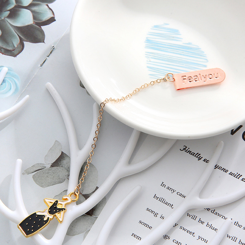 Creative Metallic Pendant Book Mark Cute Black Sunglass Bookmarks For Book Kids Girls Gift School Office Supplies Stationery