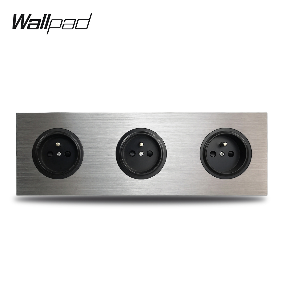 Wallpad L6 3 Gang Triple Frame French Wall Electric Socket Outlet Silver Brushed Aluminum Alloy Panel Double Plate 172 * 86 mm