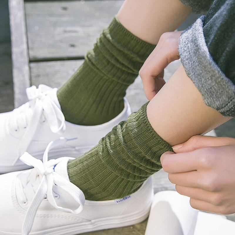 Solid Colors Cotton Socks Women Loose Socks Japanese High School Girls Harajuku Striped Socks Yellow Blue Black Grey Green