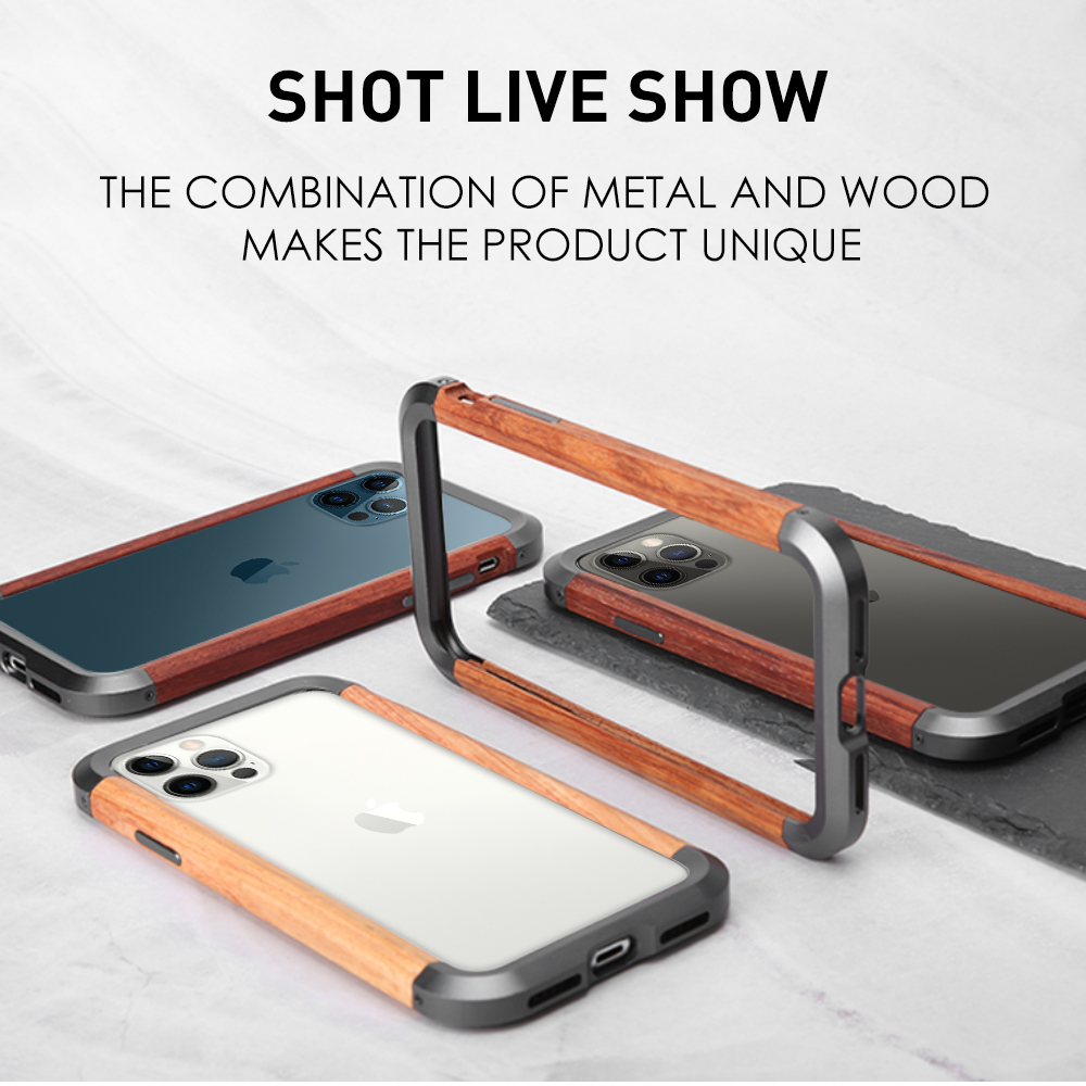 For Apple IPhone 12 pro 11 PRO X XS MAX XR Se 2020 7 8 Mini Case Aluminum Metal bumper+ wood Shockproof Phone Cover shell