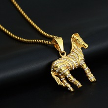 New Titanium Steel Zebra Horse Necklace Crystal Hiphop Fashion Jewelry Street Trend For Men Women Gift