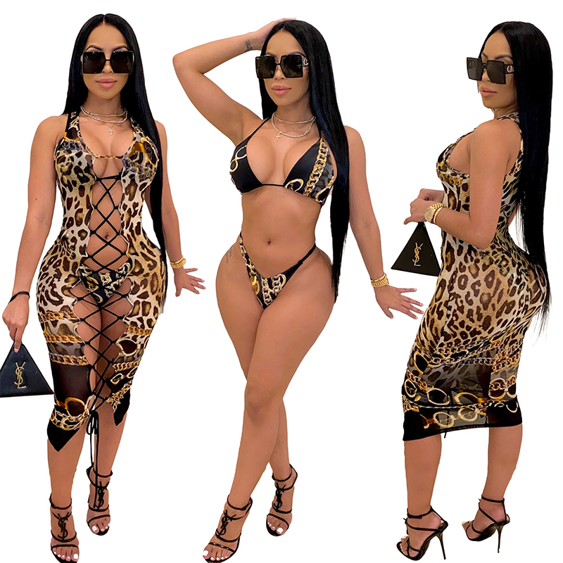 2021 Fashion Bikini Set And Matching Cover Dress Womens Sleeveless Hollow Out Laced Beach Dress 3 Pieces Outfits Beachwear S-XL 11