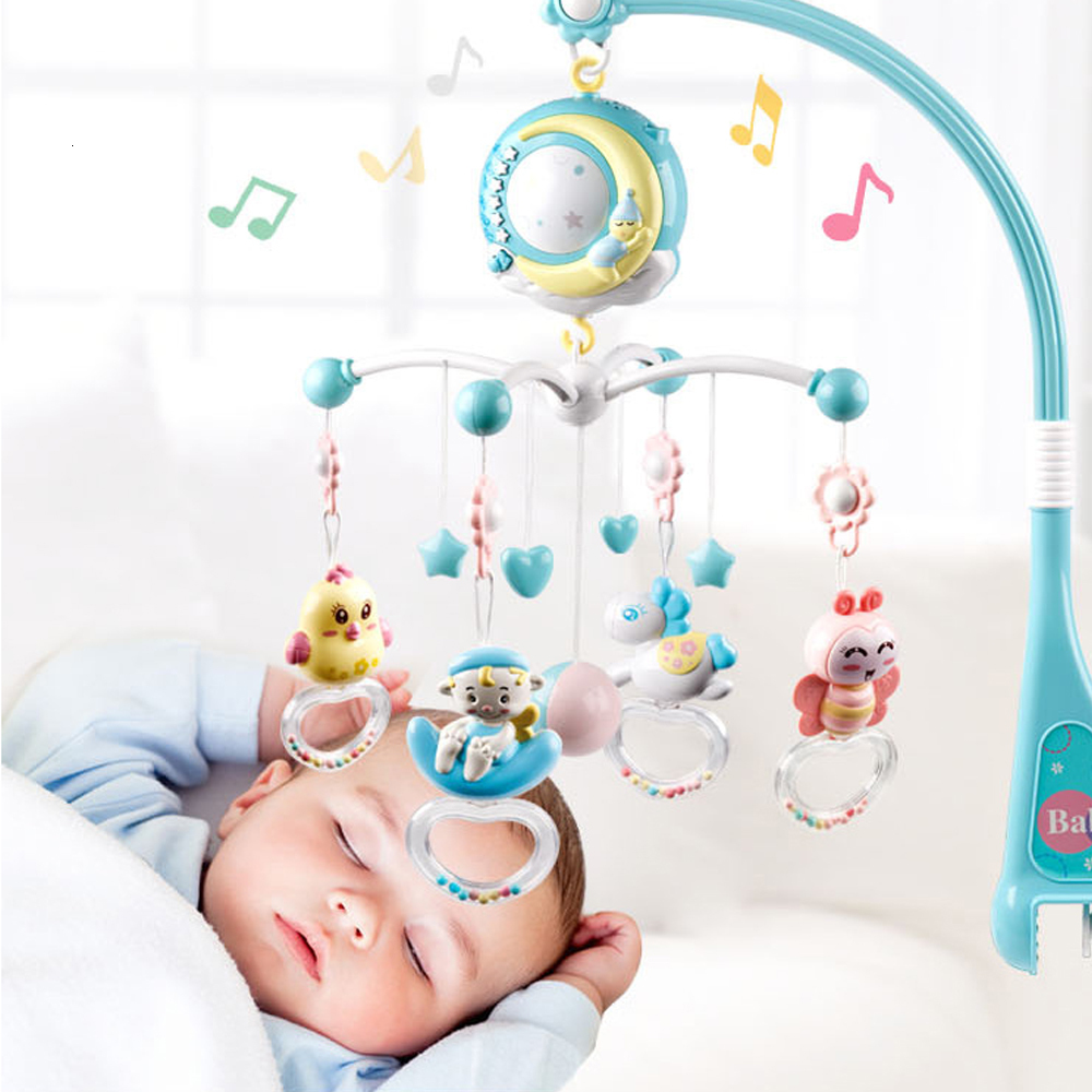 <font><b>Baby</b></font> Rattles <font><b>Crib</b></font> Mobiles <font><b>Toy</b></font> <font><b>Holder</b></font> Rotating <font><b>Crib</b></font> Mobile Bed Musical Box Projection 0-24 Months Newborn Infant <font><b>Baby</b></font> Child <font><b>Toys</b></font> image