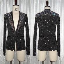 Латинские танцевальные рубашки черный блестящий горный хрусталь Топ Мужская одежда для соревнований Румба ча-ча Самба Танго Мужская одежда для выступлений DN3535