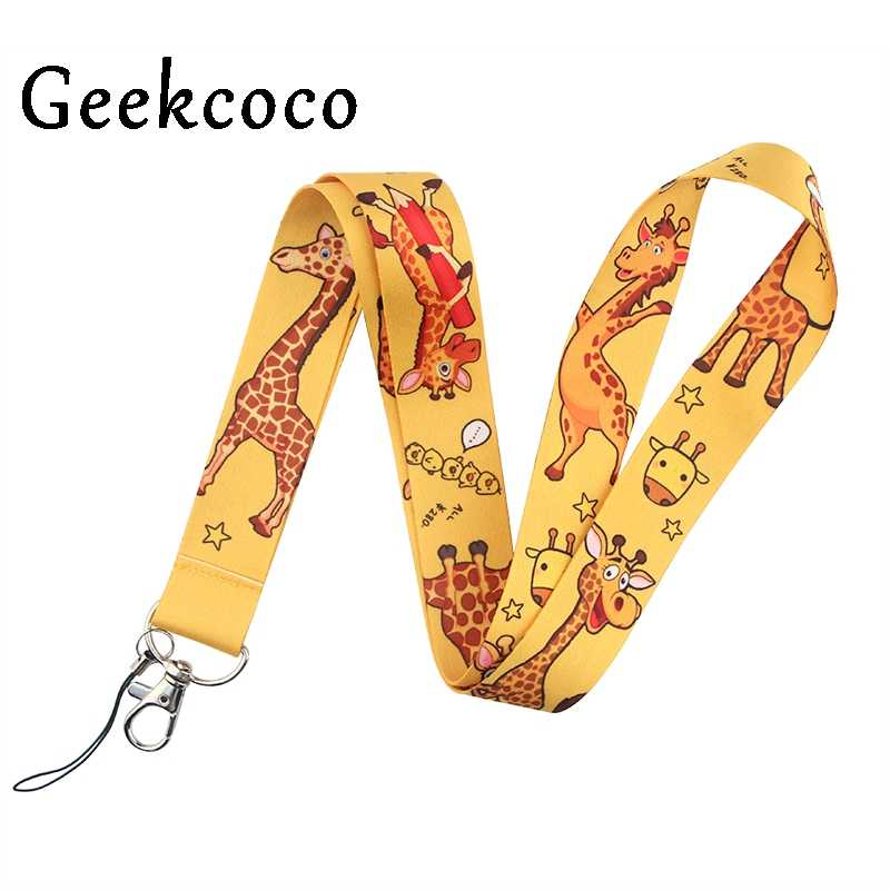 Giraffe Logo Cartoon Kawaii Kids Diy Lanyard Mobiele Telefoon Key Card Identificatie Bandjes Usb Badges Houder Opknoping J0793