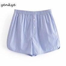 YENKYE azul claro a rayas pantalones cortos de las mujeres de cintura alta, pantalón corto Casual mujer verano pantalones cortos de mujer