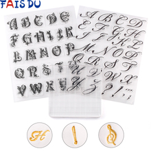 DIY Alphabet Cookie Cutter Embosser Stamp Sticky Decorating Fondant Sugarcraft Cutter Tools Cake Tools cheap FAIS DU Moulds CE EU LFGB Eco-Friendly Stocked Silicone DU670 Transparent Attach To Block And Press Into Your Fondant