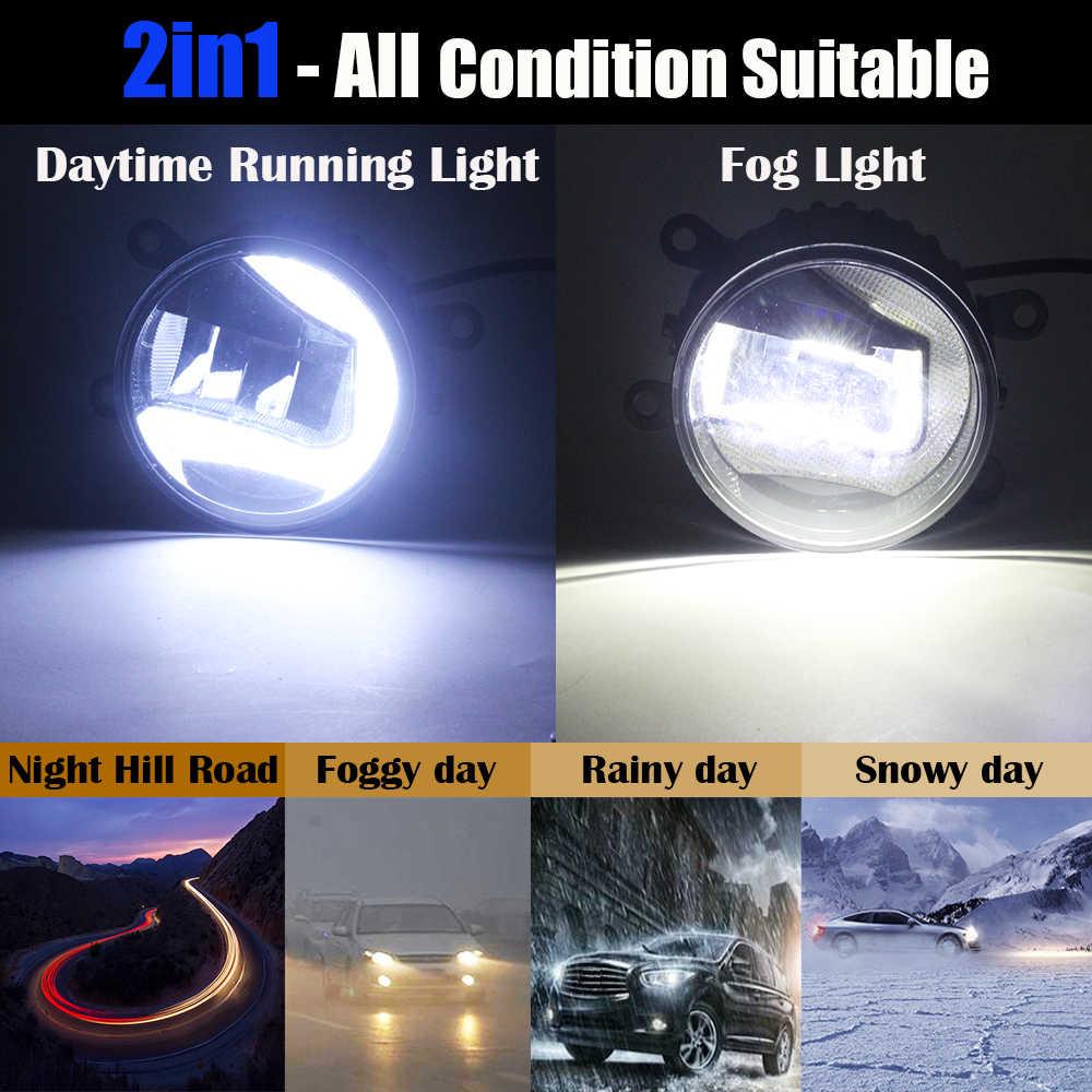 Cawanerl Citroen C5 2004-2015 araba LED sis lambası gündüz çalışan lamba DRL beyaz 12V Styling 2 parça
