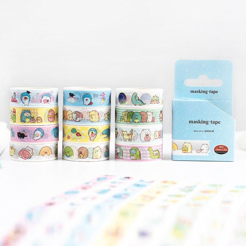 Kawaii Cartoon Sumikko Gurashi Whale Bullet Journal Washi Tape Adhesive Tape DIY Scrapbooking Sticker Label Masking Tape