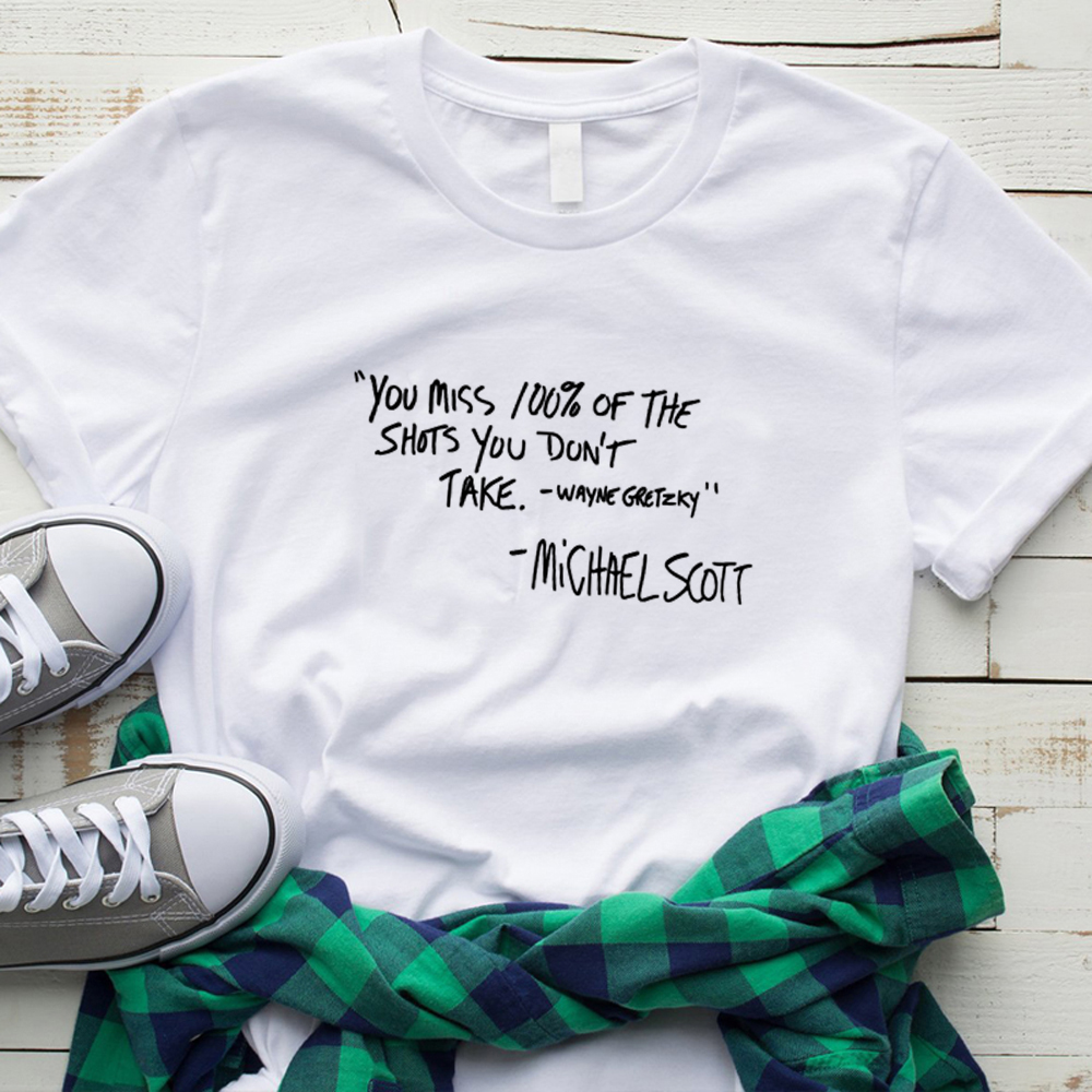 The Office Tv Shirt Michael Scott You Miss 100% of The Shots You Don't Take Dunder Mifflin The Office Quote unisex cotton Tshirt image