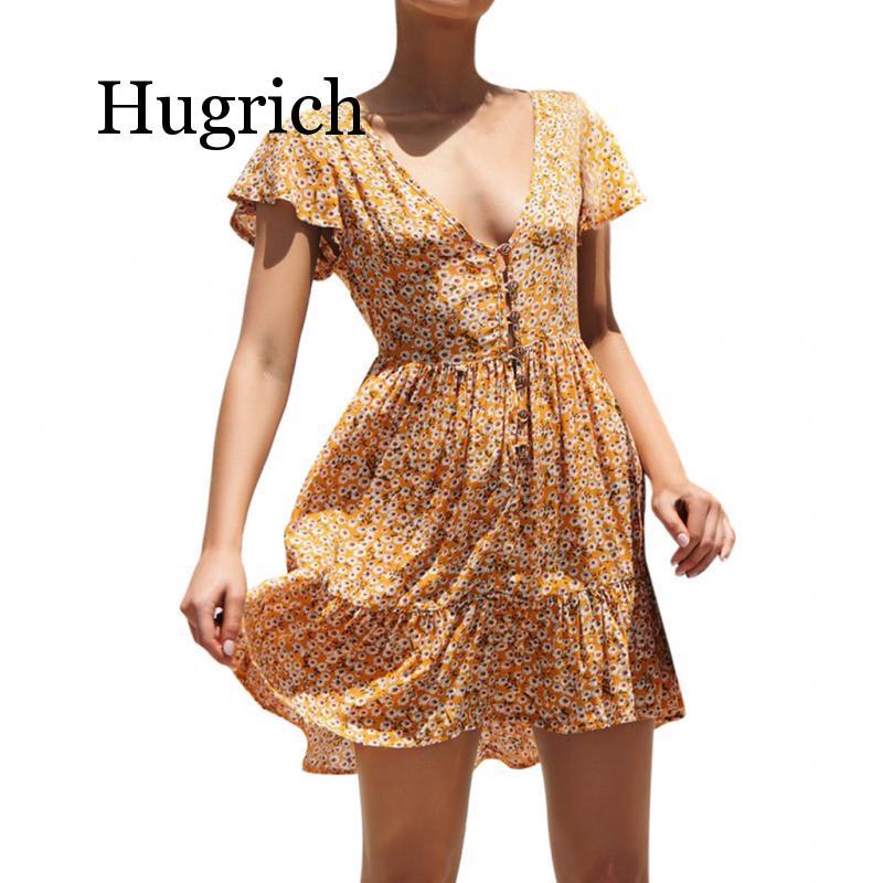 2020 Boho Casual Print Floral Dress Women Summer Floral Party Evening Beach Short Mini Dress Sundress