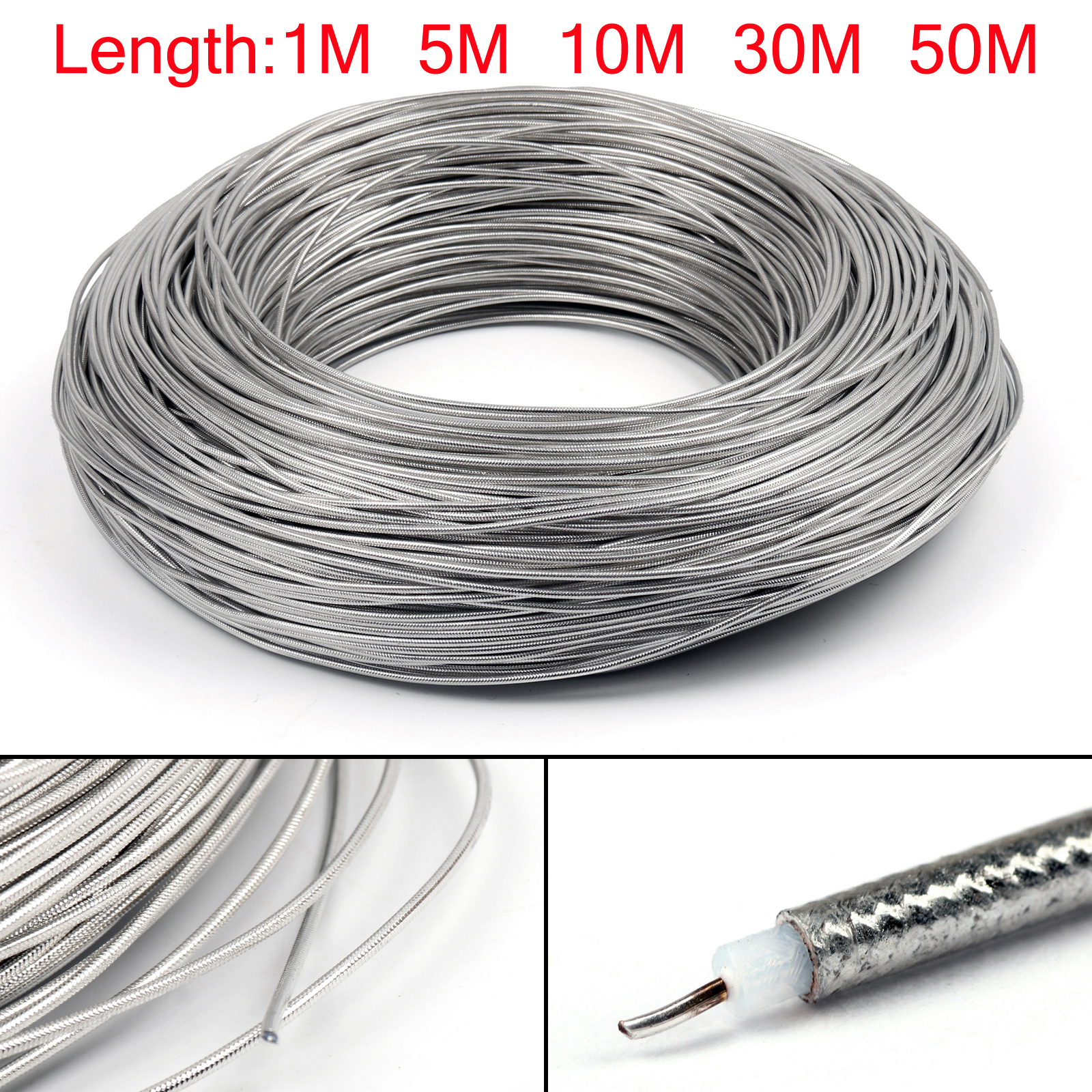 Areyourshop 1m / 5m / 10m / 30m / 50m RG405 RF Coaxial Cable Flexible RG-405 Coax Pigtail RG 405