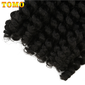 TOMO Jumpy Wand Curl Crochet Braids 8 12Inch Jamaican Bounce Curly Hair Ombre Synthetic Crochet Braiding Hair Extensions 20Roots 3