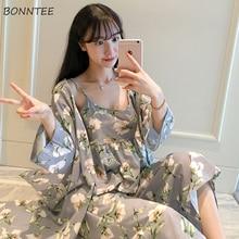 가운 세트 여성 한국어 스타일 매일 인쇄 달콤한 여자 로브 유행 통기성 우아한 의류 Homewear 부드러운 학생 여성