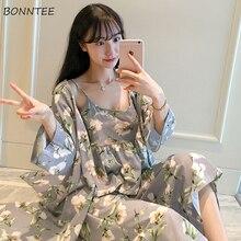 Suknia ustawia kobiety koreański styl codzienne drukowane słodkie szaty damskie modne oddychające eleganckie ubrania Homewear miękkie studenci kobieta