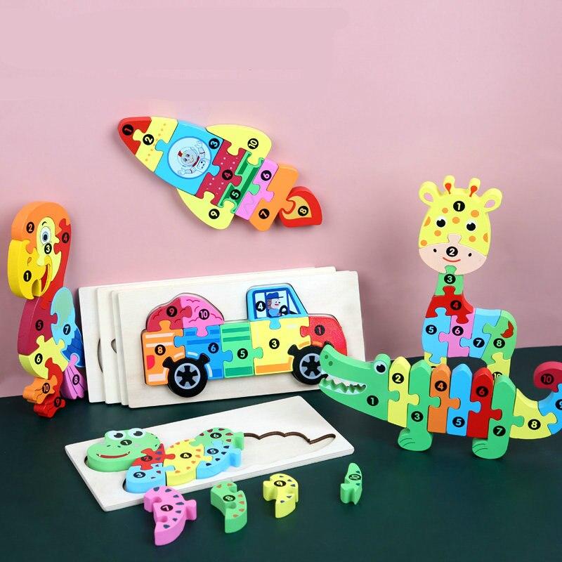 3D Puzzles Wooden Toys Kids Cartoon Animal Jigsaw Puzzles Caterpillar Crocodile Trucks Etc Montessori Learning Toys For Children