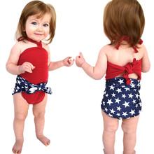 Maluch dziewczynek 4 lipca gwiazda Wrap strój kąpielowy strój kąpielowy bikini strój kąpielowy letni strój kąpielowy dla dzieci moda strój kąpielowy jednoczęściowy tanie tanio COTTON Dziecko dziewczyny Jeden sztuk Pasuje prawda na wymiar weź swój normalny rozmiar Drukuj Summer Swim Wear Cartoon Printed Swimsuit