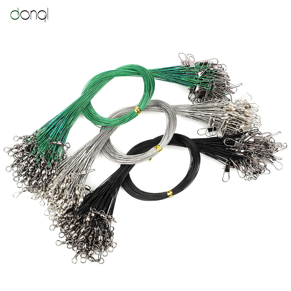60pcs Green Trace Wire Leader Stainless Steel Fishing Line Leaders//Snap /& Swivel