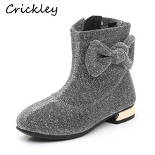 Winter Fashion Girls Boots Bling Comfortable Princess Cute Bow Ankle Kids Casual for Martin
