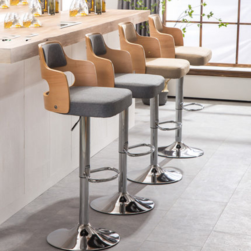 63-80 Cm Adjustable Height Bar Chair Rotate Barstool European Style Modern High Wood Simple Retro Home Coffee Chair Stool