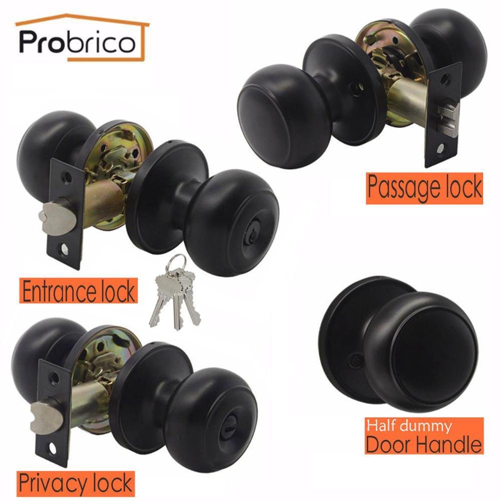 Probrico Black Interior Door Knob Rotation Handle Cylinder Latch Entry/Privacy/Passage Lock Half Dummy Round Door Lock Hardware