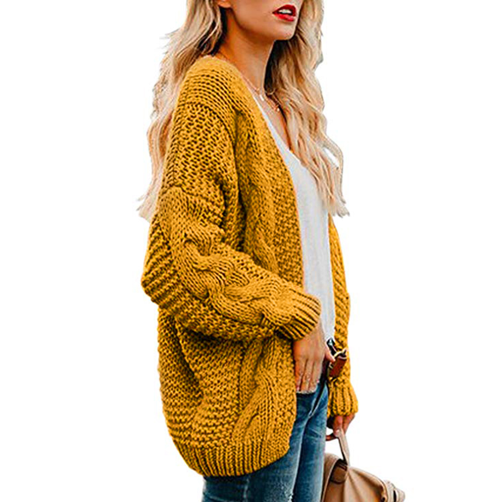 Women Open Front Cardigan Sweaters Winter Women Yellow Sweater Knitted Long Sleeve Knitwear Girls Casual Outerwear Femme Top