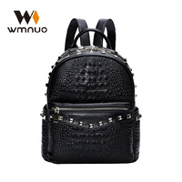 Wmnuo Backpack Women Rivet Genuine Leather Alligator College Bag For Girl Shoulder Bag Mochila Designer Travel Bag Casual Laptop