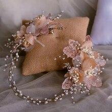 פרח מלכותי כלה סרטי ראש מצנפות רך חתונה Hairbands ערב ראש ללבוש חתונה אקססורי לשיער
