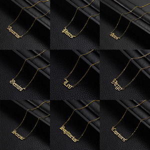 Rinhoo Old English Zodiac Sign 12 Constellation Pendant Necklace Femme Charm Choker Necklace for Women Personality Jewelry Gift