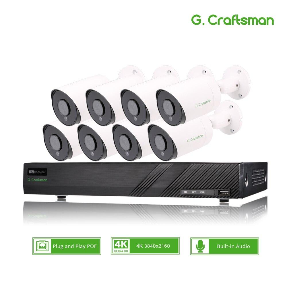 8ch 4K POE Kit de sistema de seguridad CCTV 8MP Sony IMAX415 H.265 NVR al aire libre impermeable Audio IP Cámara vigilancia alarma Video p2p Sistema de alarma de casa, intercomunicador con alarma Wifi GSM, Control remoto, Autodial, detectores de 433MHz, IOS, Android, Tuya, teclado táctil con Control de aplicación