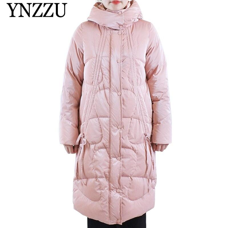 2019 Winter Women Long Down Jackets With Hooded Coated Fabric Bright Fashion Female Down Coat Loose Blue Overcoat  YNZZU YO994