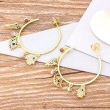 Boucles d'oreilles pendantes en forme d'aile du mal pour femmes, grand cercle, classique, cuivre, CZ, arc-en-ciel, bijoux, cadeau pour femmes