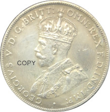 In australia 1 Un Florin Due Scellini George V 1925 Coronata Del Busto A Sinistra In Ottone Placcato Argento Copia Moneta Con Reeded Bordo(China)