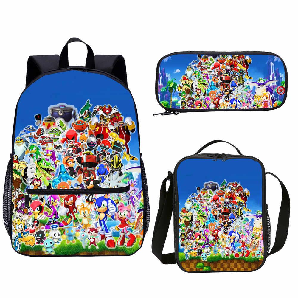 Sonic The Hedgehog Kinderen Schooltas Catroon Anime Leuke Afbeelding Print Schooltas Primaire 3d Print Kids Boek Tas Terug naar School