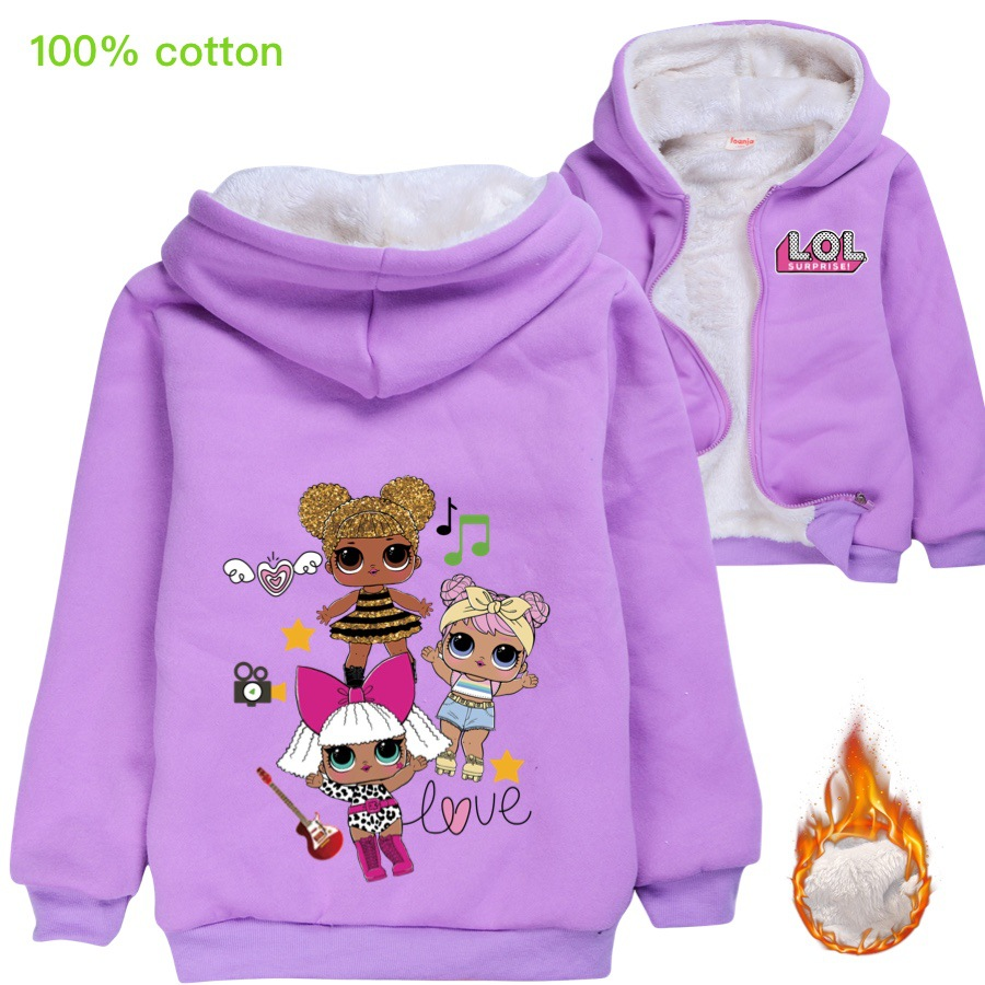 LOL Dolls/зимнее меховое пальто с героями мультфильмов для маленьких девочек; Детская верхняя одежда; Плотная теплая хлопковая куртка с капюшон...