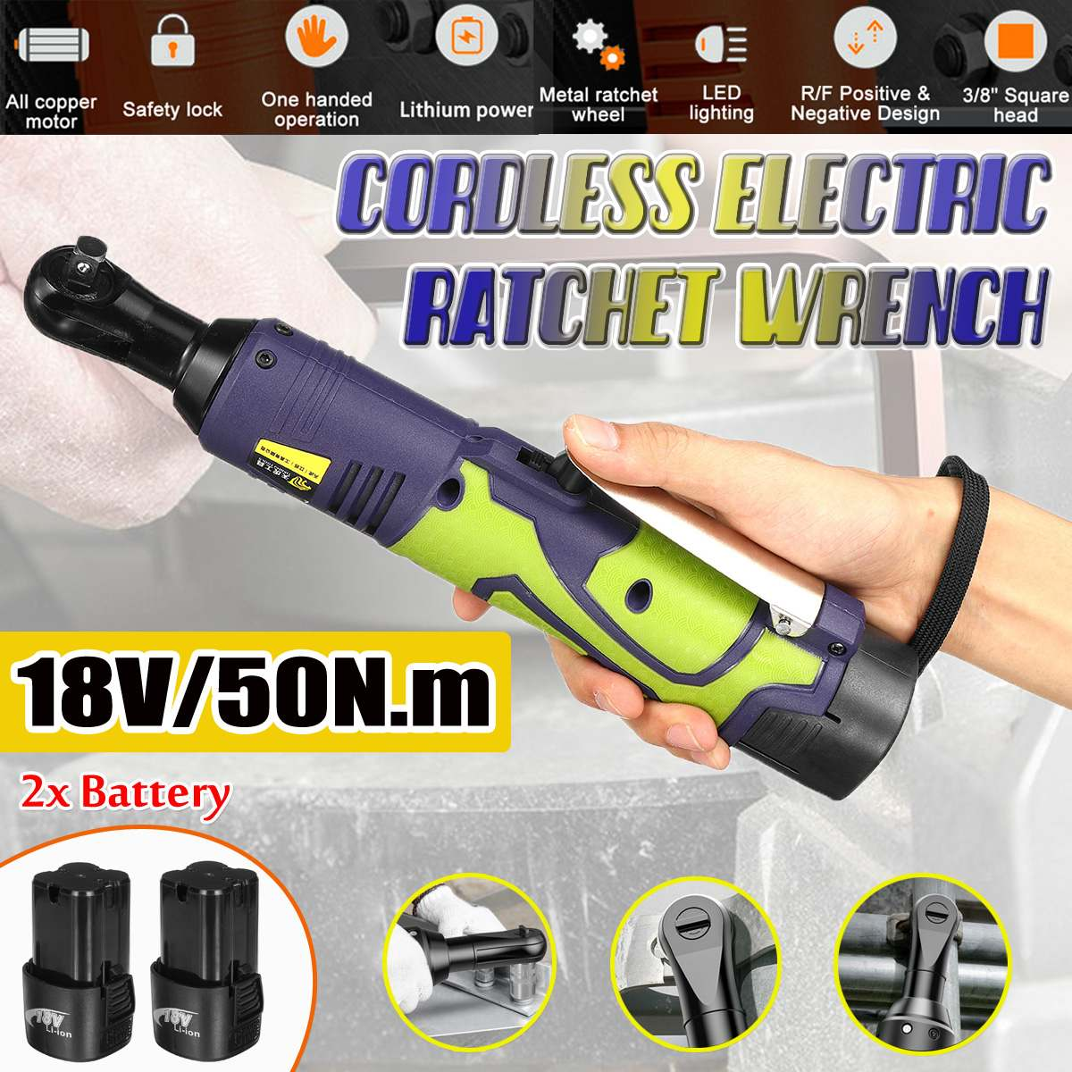 50Nm 3/8'' Lithium-Ion Battery Electric Ratchet Wrench Rechargeable Electric Cordless Wrench Kit Power Tools Car Repair Tool