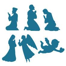 نعمة الصلاة ، تصميم ثلاثية الأبعاد قاطعة البسكوت ، راهبة ، شخص الصلاة ، الملائكة ، كيوبيد ، قالب الخبز ، أداة زخرفة كعكة الفواكه