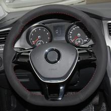 for volkswagen vw new polo new jetta 2016 multi function steering wheel audio control buttons Black Suede Hand-stitched Car Steering Wheel Cover for  VW Golf 7 Mk7 Polo Jetta