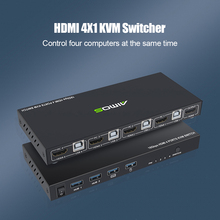 Multi-functional Durable Practical HDMI-compatible KVM Switch 4 Port 4K USB2.0 Switcher Splitter Box for Sharing Monitor Mouse