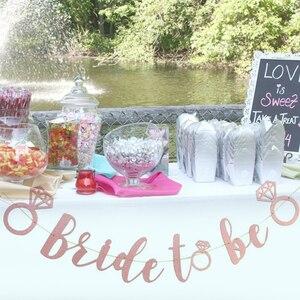 1Pc brokat różowy podwójny pierścionek z brylantem panna młoda, aby być ślub zaręczyny trznadel Banner wieczór panieński dla nowożeńców dekoracja na baby shower