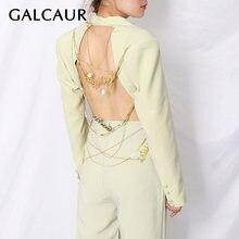 Женский Асимметричный Блейзер galcaur ажурное дизайнерское пальто