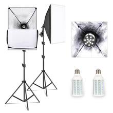 50 センチメートル * 70 センチメートルソフトボックス照明キット写真スタジオライト 20 ワット 5500 18k E27 led電球、プロ写真スタジオ機器