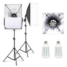 50 سنتيمتر * 70 سنتيمتر سوفت بوكس طقم الإضاءة التصوير إضاءة الاستوديو مع 20 واط 5500 كيلو E27 LED لمبة ، المهنية معدات استوديو الصور
