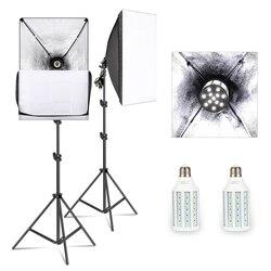 50cm * 70cm zestaw oświetlenia Softbox światło do studia fotograficznego z żarówką LED 20W 5500K E27  profesjonalny sprzęt fotograficzny