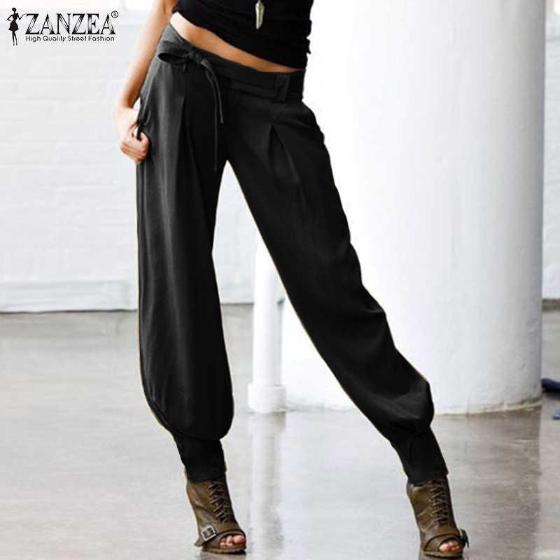 Vrouwen Lage Taille Sexy Broek Zanzea Dames Casual Solid Lange Broek Vrouwelijke Terug Elastische Taille Zakken Belted Harem Streetwear