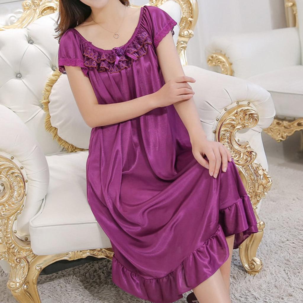 Lace Ice Silk Satin Nightdress Short Sleeve Nightwear Sexy Women Sleepwear Satin Nightgown Vestidos Girl Lingerie Nightdress *X