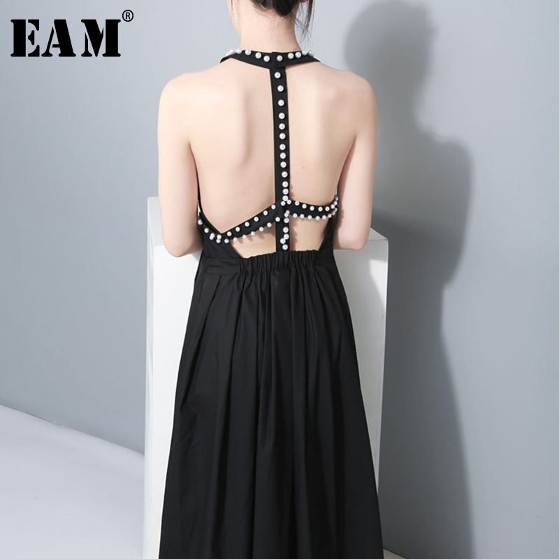[EAM] 2020 New Spring Summer Round Neck Sleeveless Backless Pearl Nailed Hollow Out Temperament Dress Women Fashion Tide JU181