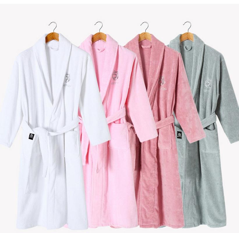 Cotton Towel Bathrobe Winter Bath Robe Women Men Cotton Absorbent Home Hotel Nightgown Sleepwear Robes Female Warm Negligee