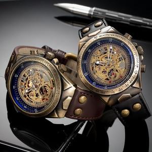 Image 5 - جديد التلقائي ساعات آلية الرجال حزام من الجلد الرجعية الهيكل العظمي Steampunk ساعة اليد الذاتي الرياح العلامة التجارية Relogio Masculino